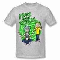 2017 Summer New Anime Cool Rick Morty Print Men T Shirt Peace Among Worlds Folk T