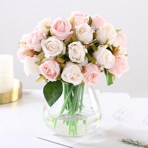 Image 3 - 12 PCS/Lots מלאכותי עלה פרחי חתונה זר משי רוז פרחי בית תפאורה מסיבת חתונת קישוט מזויף פרח