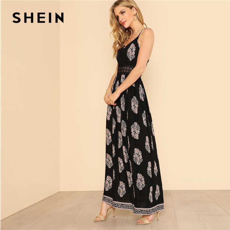 5d93b28595 ... SHEIN Lace Waist Split Front Cami Dress Women V Neck Spaghetti Strap  Sleeveless Maxi Dress 2018 ...