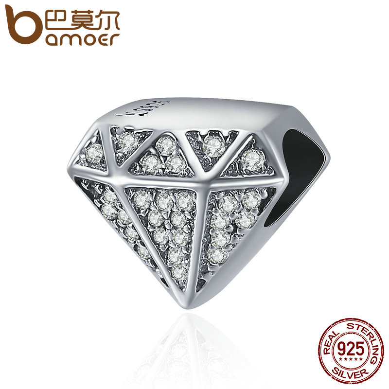 BAMOER Authentic 925 Sterling Silver Luxury Geometric Shape Clear CZ Beads fit Original Charm Bracelet Fine jewelry S925 SCC397