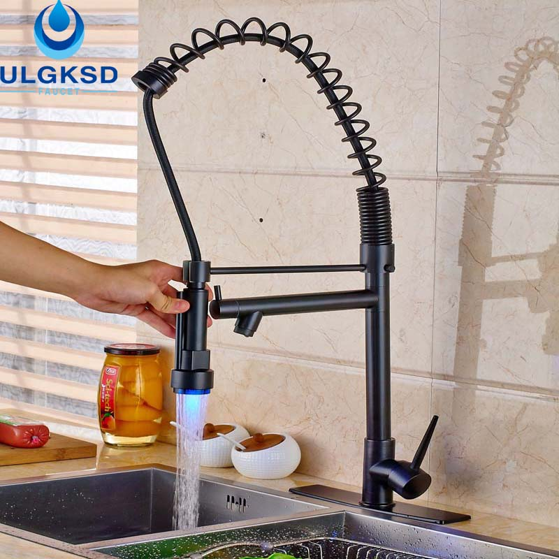 Ulgksd LED Kitchen Faucet Sprayer Pull Out StreamDeck Mount HandHeld Pull Out Faucet Flexible Hose Kitchen Mixer Water Taps