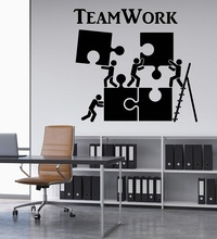 Vinyl Wall Decal Teamwork Motivation Decoration Office Worker Jigsaw Personality Art Sticker Home Commercial Decoration 2BG20
