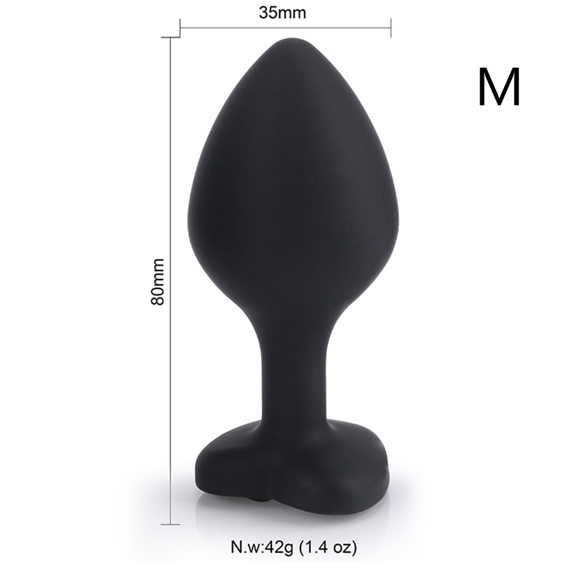 Buy MaryXiong Medium Black Heart Silicone Anal Plugs Butt Plug Jeweled Anal Beads Adult Sex Toys Men Women Couple Anal Trainer