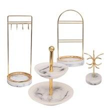4 סגנון Marbling שרף רטרו נורדי תכשיטי ארגונית Rack תצוגת עגילי Stand בציר חדר דלפק ראווה תכשיטי אריזה