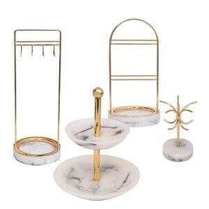 Image 1 - 4 Style marbrure résine rétro nordique bijoux organisateur présentoir boucles doreilles support Vintage salle compteur vitrine bijoux emballage