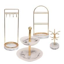 رف منظم مجوهرات عتيق من الراتينج بنمط رخامي مكون من 4 قطع مزود بحلقات للعرض وتغليف المجوهرات