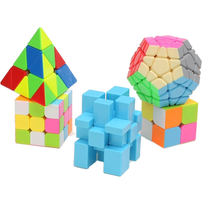 5PCS/Set 2x2x2 3x3x3 Magic Mirror Puzzle Speed Cube Professional Pyraminx Megaminx Competition Magic S Cube Educational Toys dayan bagua magic cube speed cube 6 axis 8 rank puzzle toys for children boys educational toys new year gift