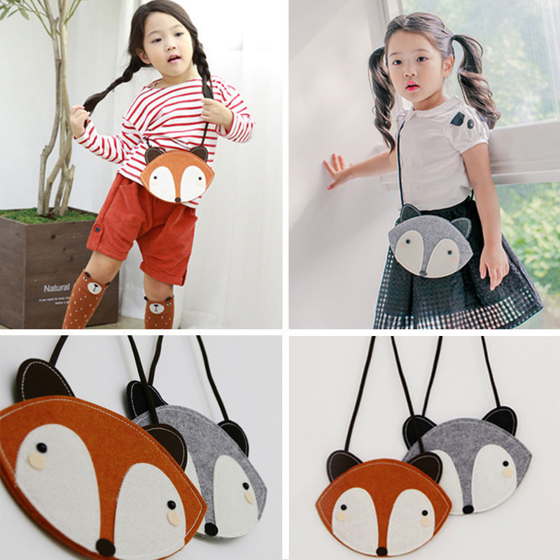 Cute Fox Animals Bag Baby Children Kids Boys Girls Cartoon Messengers Shouder Bags Handbag Plush Backpacks new children cartoon bags cute elephant mini handbag for girls boys pure cotton animals kids baby bags handmade a limited