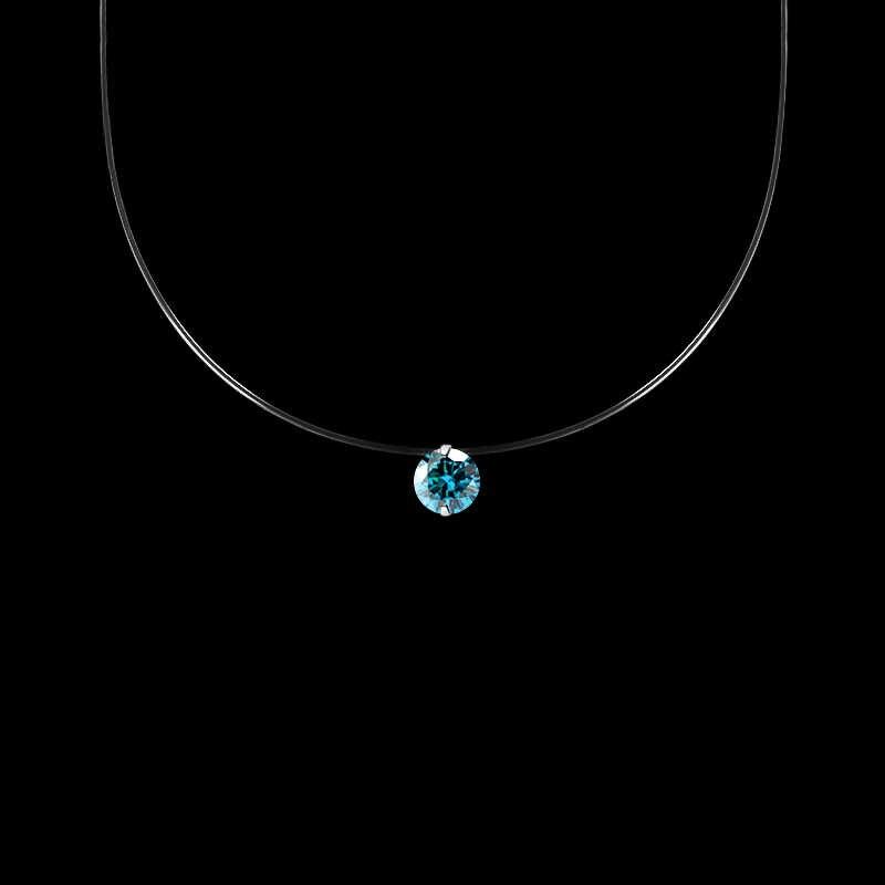 QCOOLJLY kobiet przezroczysta żyłka wędkarska naszyjnik srebrny niewidzialny łańcuch naszyjnik kobiety Rhinestone Choker naszyjnik Collier Femme