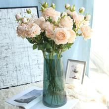 Rose Artificial Flower 3 Head White Peonies Silk Flowers Red Pink Blue Fake Flower Wedding Decor Home Peony Bouquet 1pcs XF30