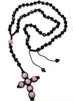 Men's Women's Necklaces Hip Hop Pink Clay Crystal Disco Ball Onxy Beads Hand Made Cross Pendant Necklace