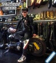 2016 Promotion New Men Motocross Body Armor Uglybros Motorcycle Leather Jacket Vintage Skeleton / Male Female Slim Size S-2xl