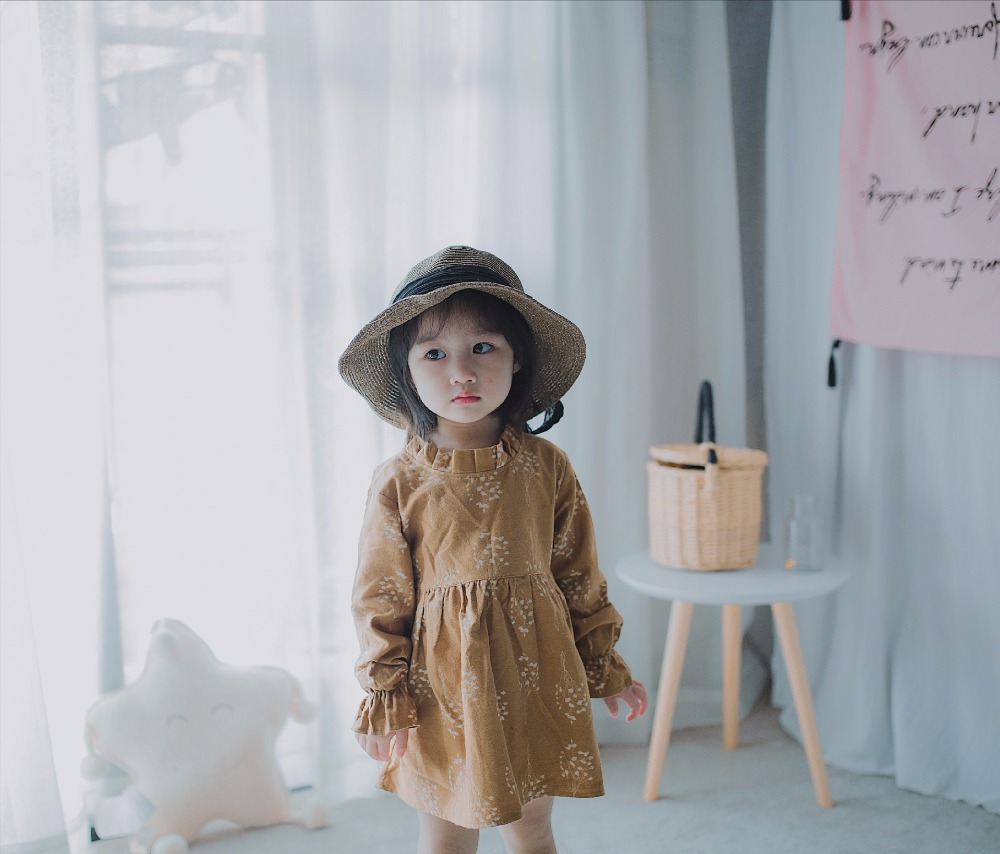 2017 new girl dress long-sleeved cotton small floral princess dress childrens autumn and winter dress girl dress