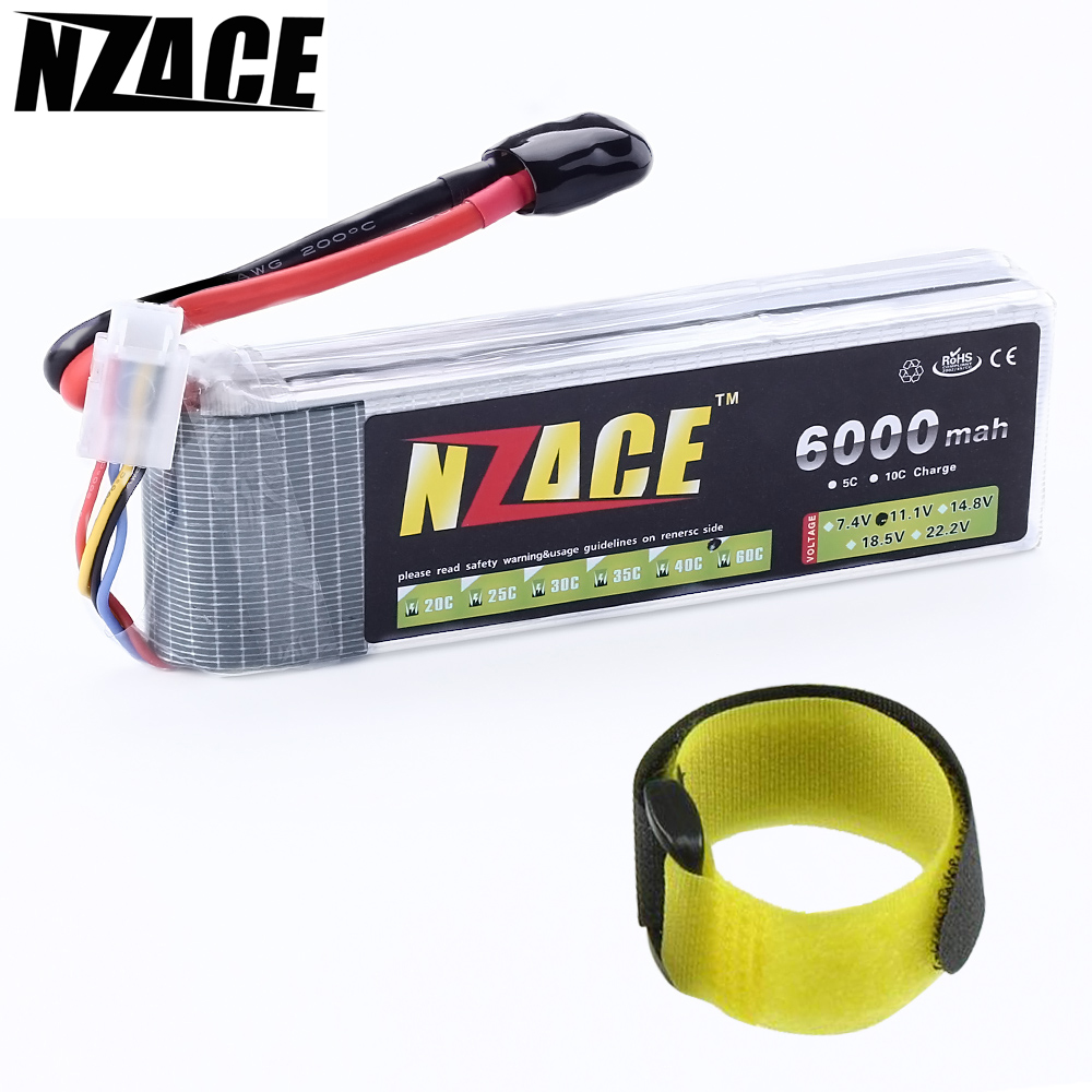 NZACE POWER 3S lipo battery 11.1v 6000mAh 60C rc helicopter rc car rc boat quadcopter remote control toys Li-Polymer battey 3pcs 3 7v 900mah li po battery green european regulation charger and cable for remote control xs809 xs809hc xs809hw quadcopter