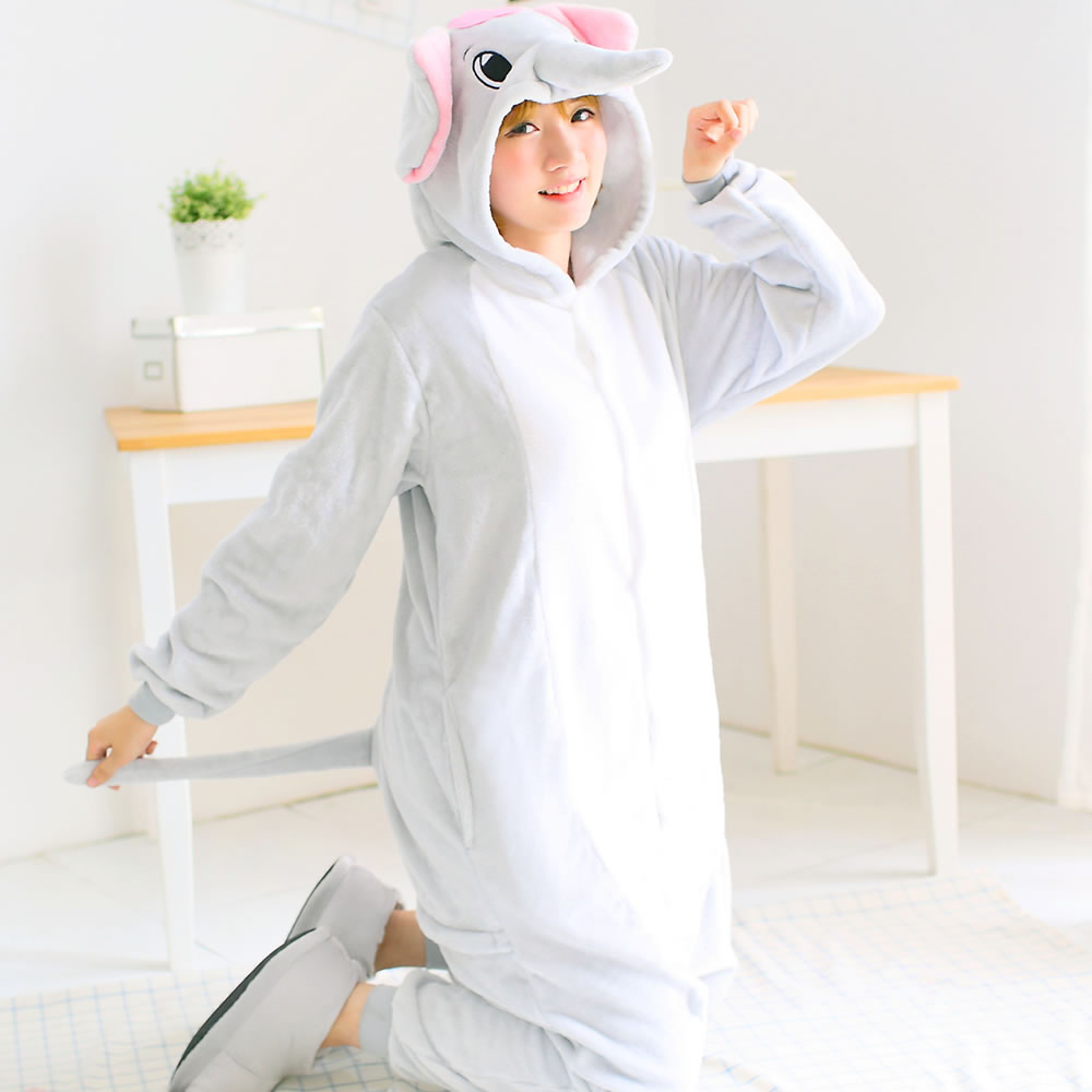 Anime Animal Circus Blue Elephant Polar Coral Fleece Winter Warm Culottes Jumpsuit Cosplay Pajamas Adult Unisex Onesie Party
