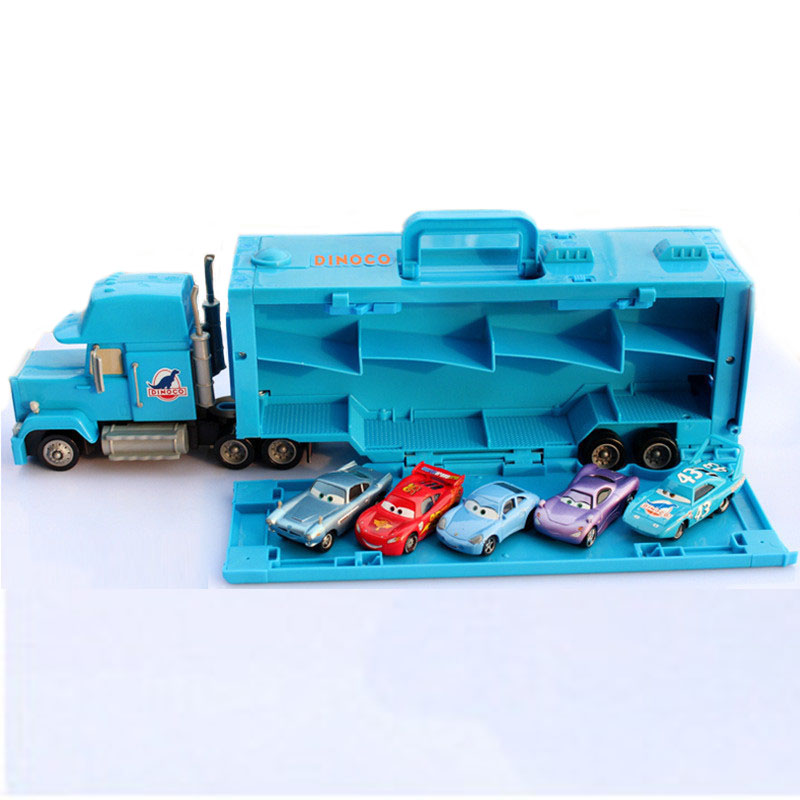 Pixar Cars Portable Suit NO.43 Large Size Blue Mack Uncle Container Toy Car McQueen Metal Diecast Toy Car Truck Combination