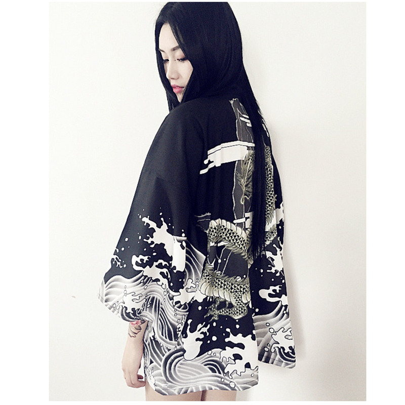 2018 Mulheres Da Moda Tops Streetwear do Estilo Harajuku Japonesa Vestes Ondas Flying Dragon Solto Chiffon Cardigan Kimono Feminino