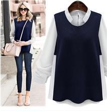 2016 Autumn Fashion Women Tops Loose Collar Cotton Shirt Splicing Chiffon Long-sleeved Plus Size Casual Vintage Blouse XXXXXL
