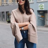 TWOTWINSTYLE Ol Shirt For Women Split Long Sleeve Round Neck Pullover Blouse Autumn Female Large Size
