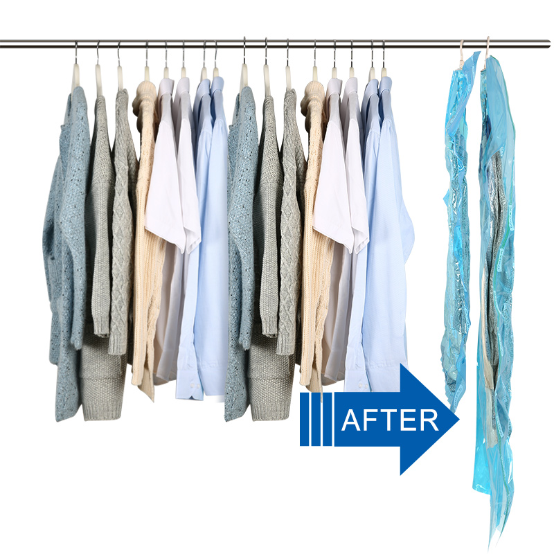 Vacuum Bags For Clothes Hanging Wardrobe Storage Organizador Cover For Clothes Space Saver Bag ...