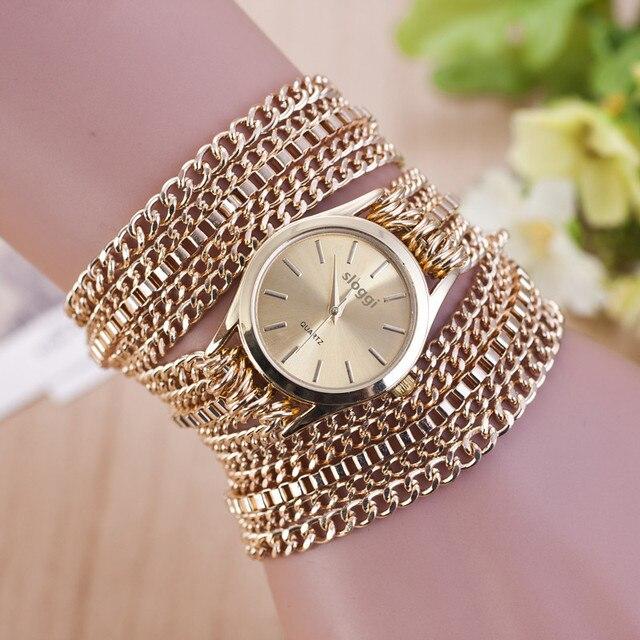 Hot Selling Bracelet Watches Women Fashion Alloy Chain Gold Ladies Casual Quartz
