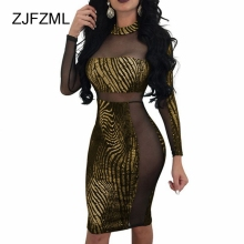 ZJFZML Women Bronzing Bandage Dress Sexy See Through Mesh Mini Party Club Long Sleeve Bodycon Female