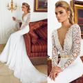 2016 Sexy Deep V-Neck Berta Lace Wedding Dresses Mermaid With Long Sleeve Vestido de Novia Vintage Wedding Dress Bridal Gowns
