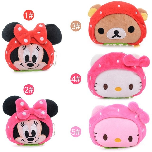 09a14cf879e7 Lovely Desgin Cartoon Strawberry Hello Kitty Mouse Rilakkuma bear Plush  Girls Kids Mini Coin Purse Wallet + Chain 5*4'' New