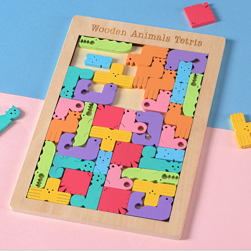 Wooden Tetris Puzzle Tangram Jigsaw Brain Teasers Toy Colorful Wood Puzzles Y