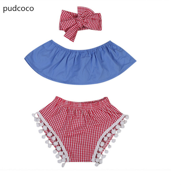 f0363f94a7d6 Newborn Baby Girls Off Shoulder Tops+Red Plaid Pants+Headband 3Pcs Outfits  Clothes Sets Blue Strapless Top Tassel Bottom Sunsuit