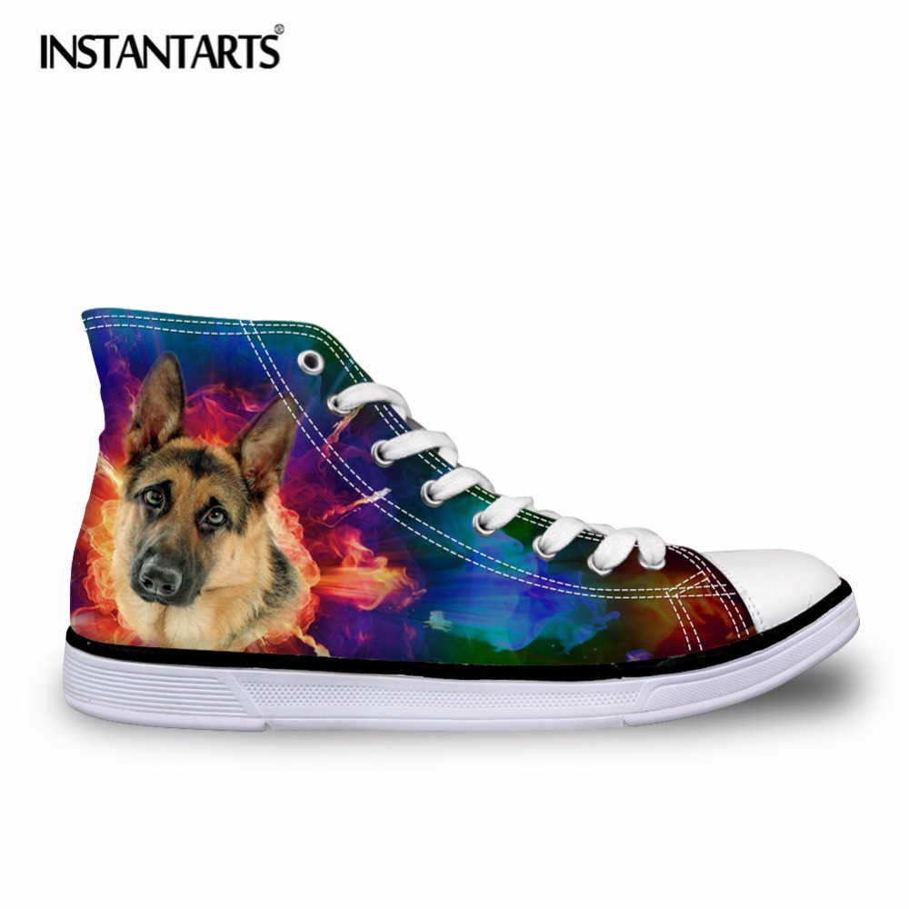 INSTANTARTS Lacing Vulcanize Shoes for Men Galaxy Animal Dog Boston Terrier Husky Design Male Comfortable High Top Canvas Shoes