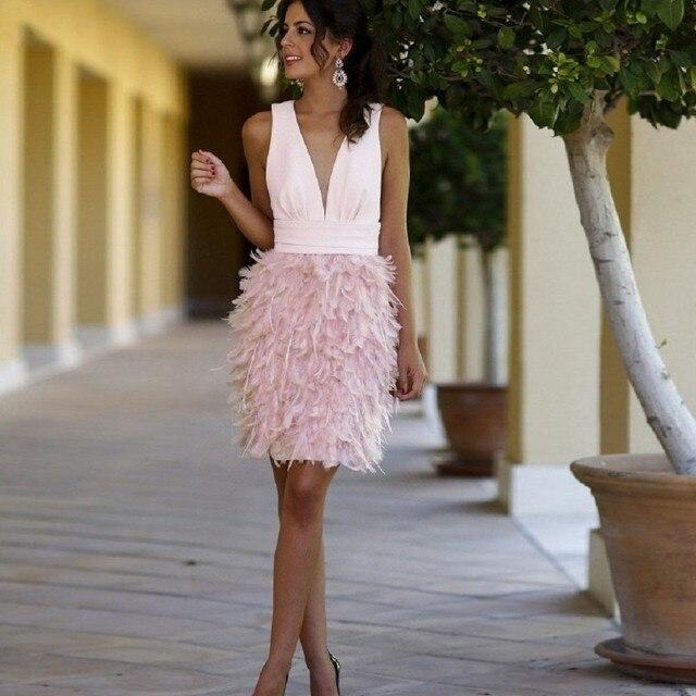 Sex Deep V Neck Mini Short Cocktail Dress Feather Skirt Pink ...
