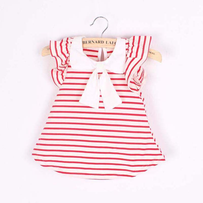 Cute Fashion Baby Girl Dress Summer Girl Cotton Striped Bow Dress Infant Clothing 1 Year Birthday Dress for Girls Clothing 0-18M