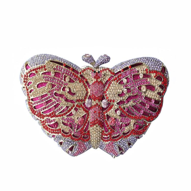 ФОТО Butterfly Clutch Purse Luxury Rhinestone Crystal Evening Clutch Bags