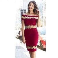 Women Autumn New Wine Red Slash Neck Sleeveless Bandage Dress Fashion Ladies Celebrity Party Club Dress