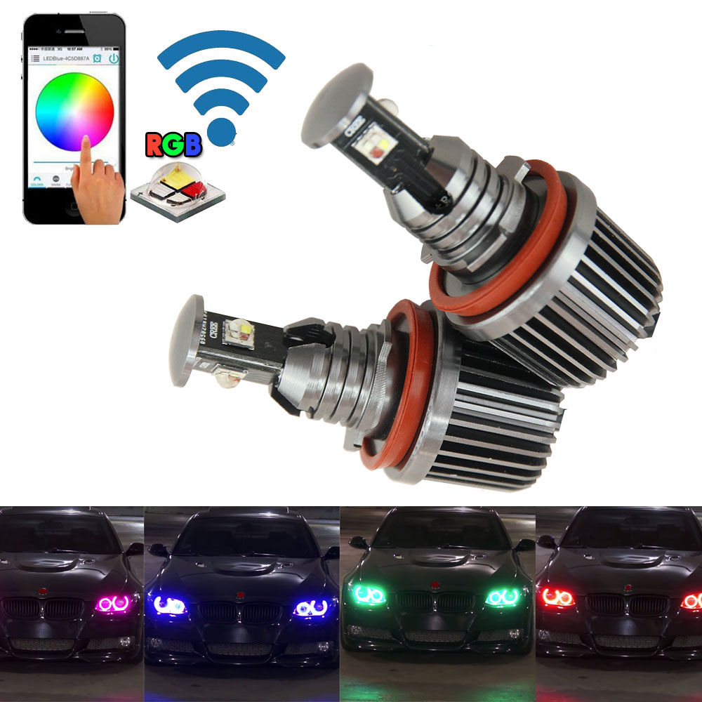 New Design No error Multi-colors wifi rgb LED marker e92 angel eye 72w RGB for bmw e92 h8 X5 E70 X6 E71 E90 E91 M3 E60