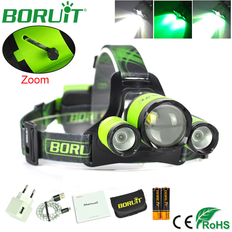 BORUiT XM-L2 LED Headlamp Zoom Flashlight 4-Mode Rechargeable Headlight Portable Camping Hunting Head Lamp Torch 18650 Battery ultrafire s4 portable 4 led 4 mode 2800lm white flashlight grey silver 4 x 18650
