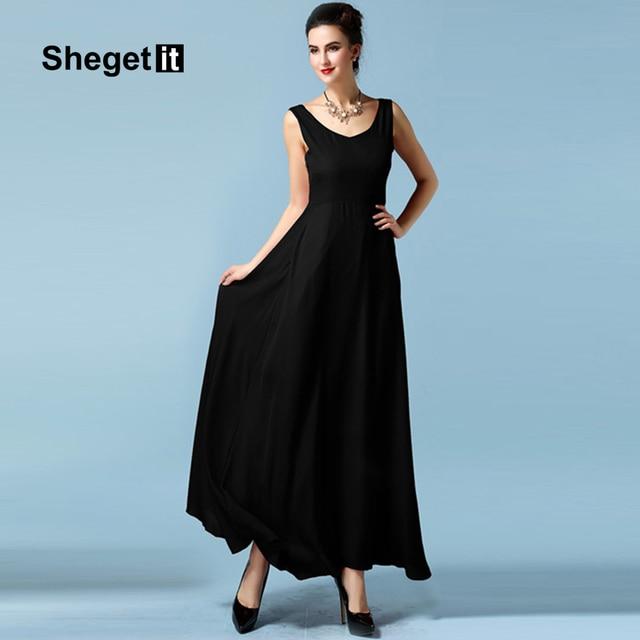 Shegetit Women Chiffon Red Black Backless Maxi Dress 2017 New Summer