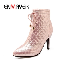 ENMAYER New Fashion women shining thin heel ankle boots lady pointed toe  high ZYL270