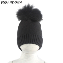 цены на Baby Hat Winter Children Baby Warm Cotton Beanies Hats Crochet Knitted Kids Caps Boys Girls Brand Real Fur Pom Pom Hat  в интернет-магазинах