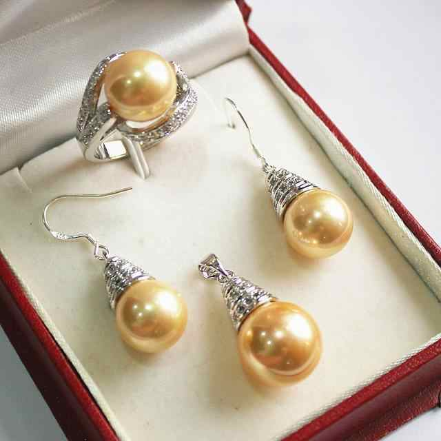 AAA emas hitam putih pink Ungu Mutiara Laut Selatan Anting & cincin & Kalung Liontin 5 Set + Rantai Emas Disepuh Grosir perak