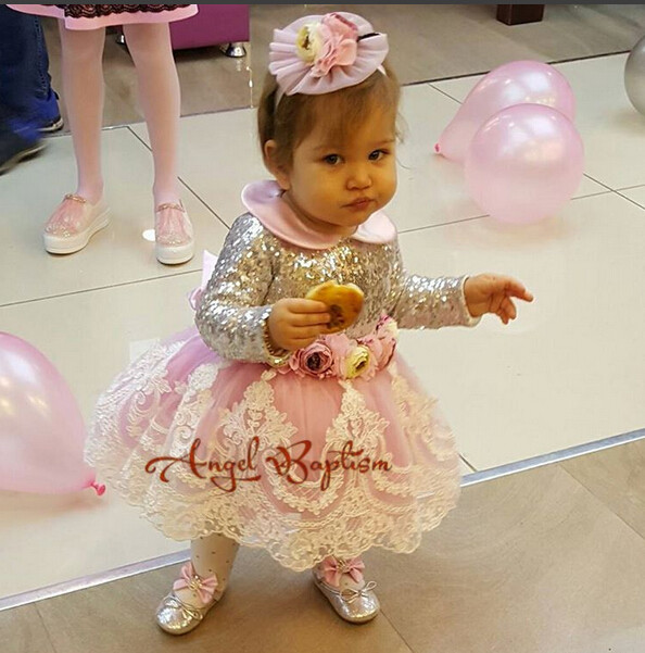 2017 cute sliver sequin handmade floral toddler pageant dress lace appliques with bow infant 1st birthday party outfits with logo sliver