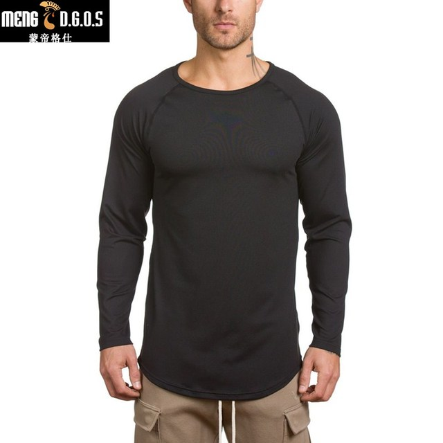 2017 men's fashion long-sleeved t shirt Summer style thin shirts Personality casual clothing Slim elasticity male tee tops