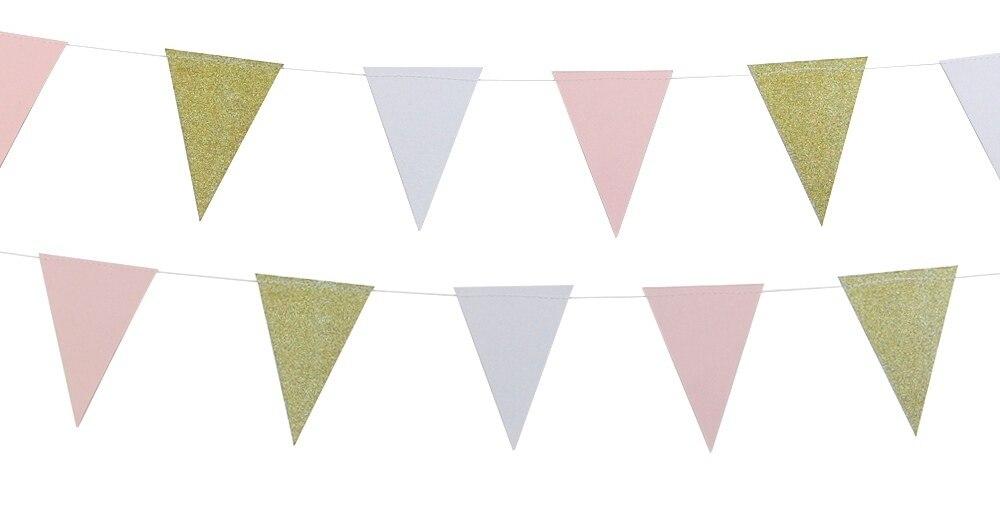 10 футов (2,5) длинный баннер золото/розовый/белый Смешанная Цвет овсянка Вымпел гирлянда для Baby Shower Свадебный День рождения фото фон
