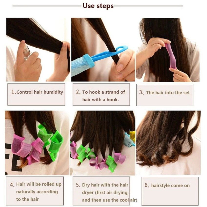 Pro Magic Soft Hair Curler Roller Curl DIY Salon Hair Styling Too l25cm of 12 x Waves Roll +1 Hair Pulling Stick