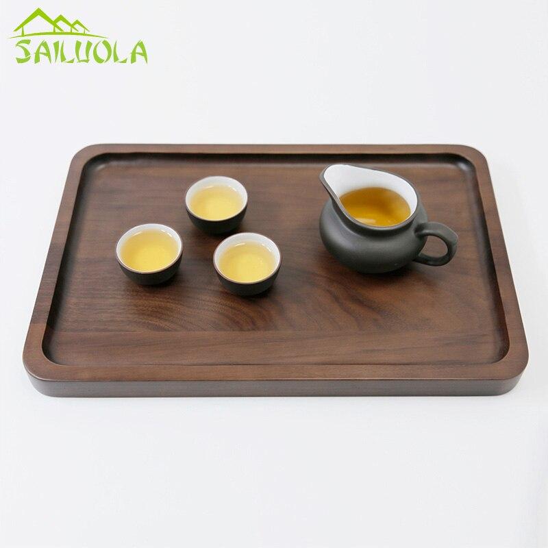 1 PC plateau de thé en bois massif japonais de haute qualité, plateau de fruits en noyer noir, accessoires de plateau de thé Kung Fu