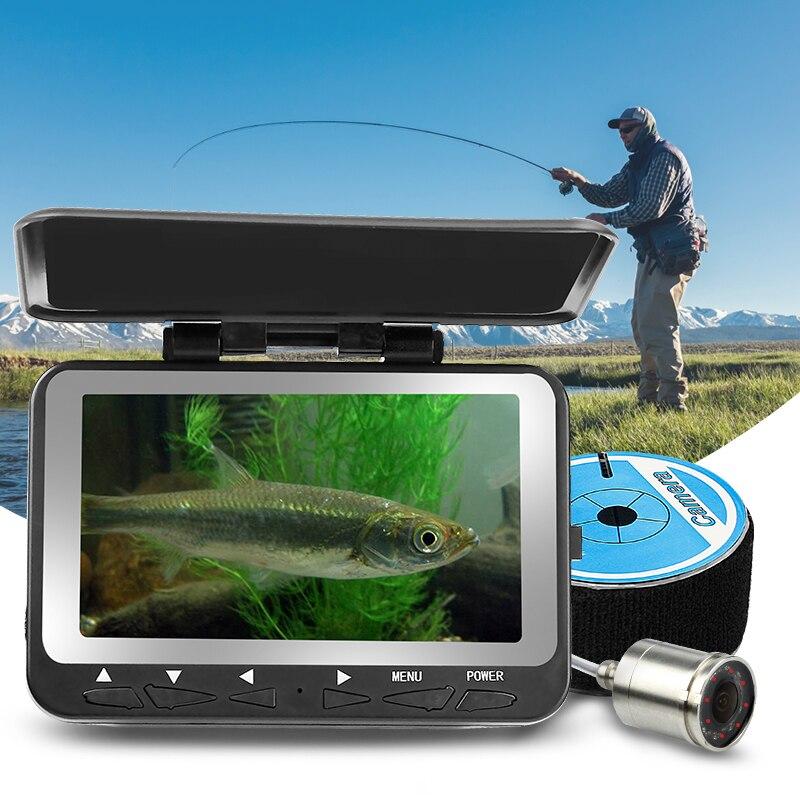 Erchang 20 m Cable buscador de los pescados LED infrarrojo 4,3 ''monitor HD 1000TVL Cámara submarina para la pesca en el hielo en inglés ruso