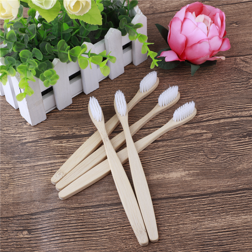 5pcs Natural Bamboo Toothbrush Soft Bristle Dental Oral Care tools Eco Friendly portable Travel wooden Tooth Brushes dropship in Toothbrushes from Beauty Health