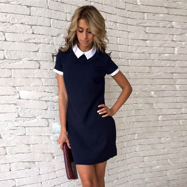 New Chic Women Summer Dress Short Sleeve Office Clothes Mini 2017