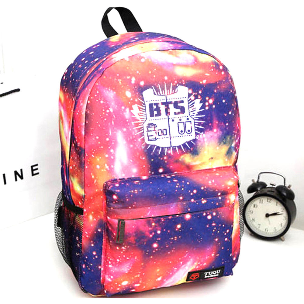2017 Hot KPOP BTS fans Nylon Women Backpack Girls Rucksacks Men Student Teenage School laptop Bag Girl Travel backpack Mochila 2017 hot sale kpop fashion harajuku bts infinite fisland boyfriend snsd bap tvxq shinee umbrella